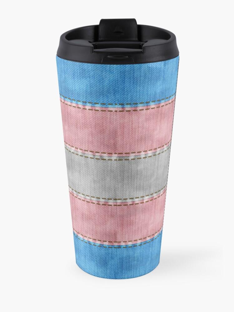 Alternate view of Transgender Denim Flag Travel Mug