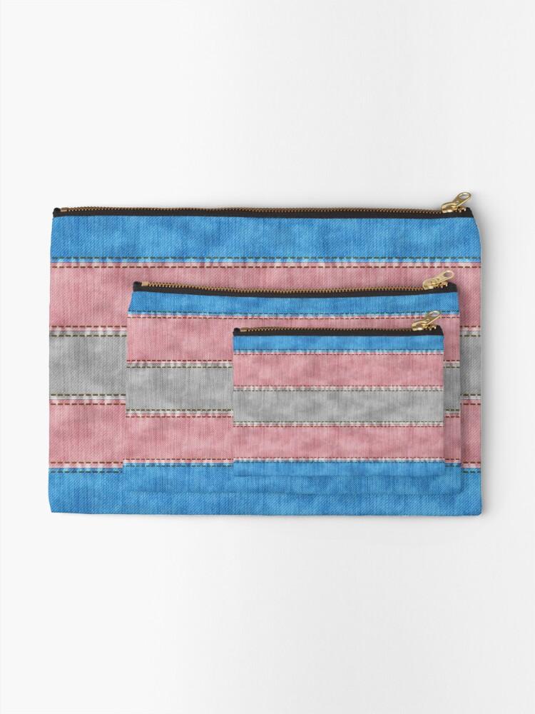 Alternate view of Transgender Denim Flag Zipper Pouch