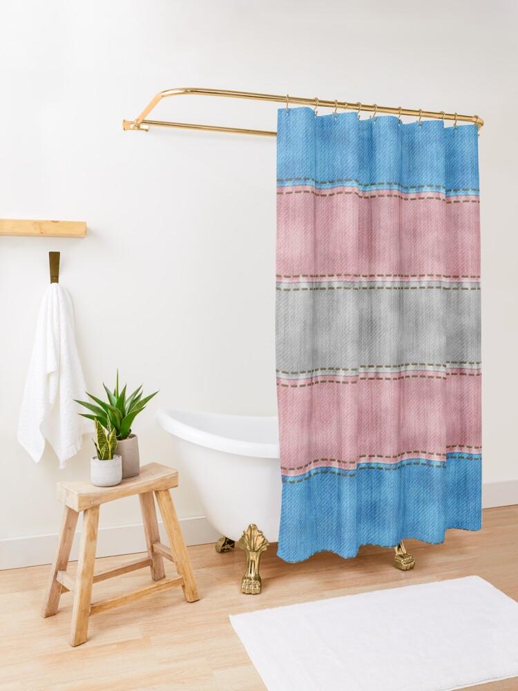 Alternate view of Transgender Denim Flag Shower Curtain