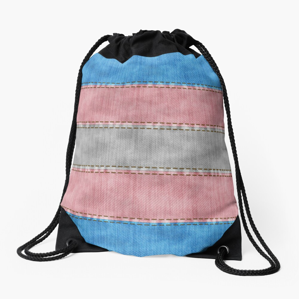 Transgender Denim Flag Drawstring Bag