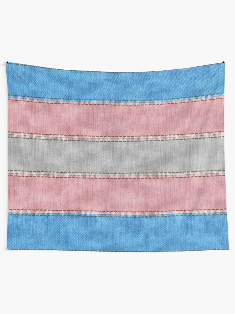 Alternate view of Transgender Denim Flag Tapestry
