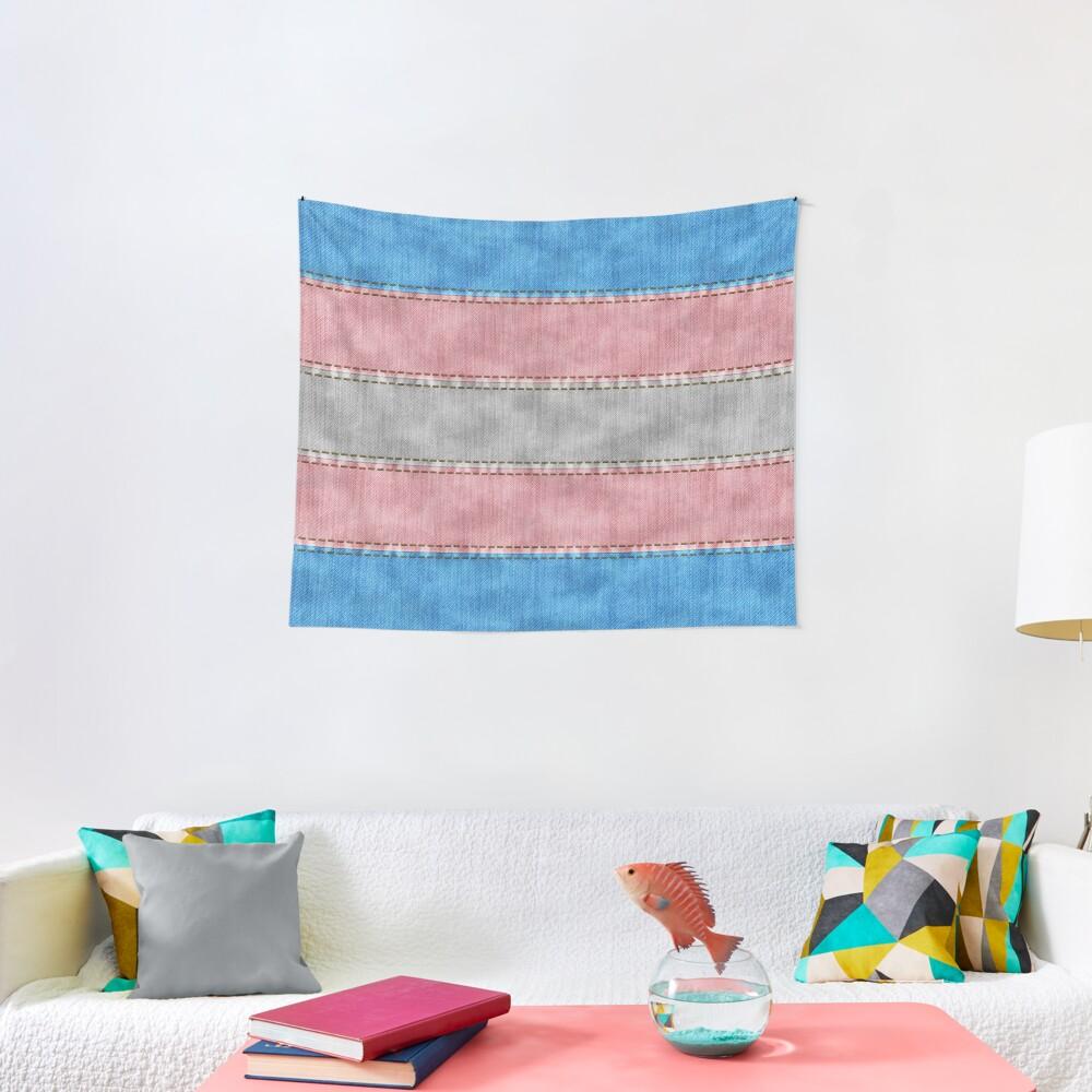 Transgender Denim Flag Tapestry