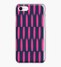 Modern abstract neon pink navy blue brushstrokes iPhone Case/Skin