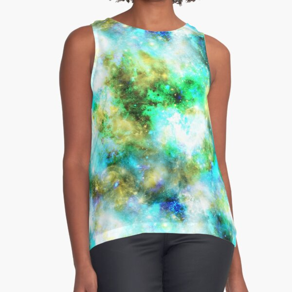 Galaxy - Blue, Green, Yellow Sleeveless Top