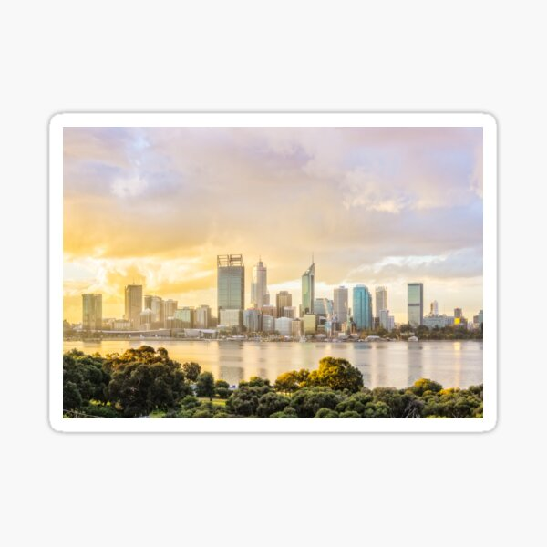 Afternoon City Glow, South Perth, Perth Sticker
