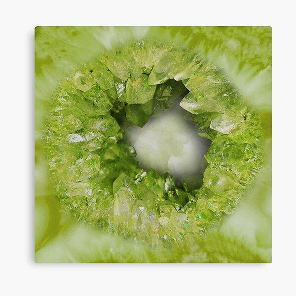 Peridot Green heart shaped crystal geode stone Canvas Print