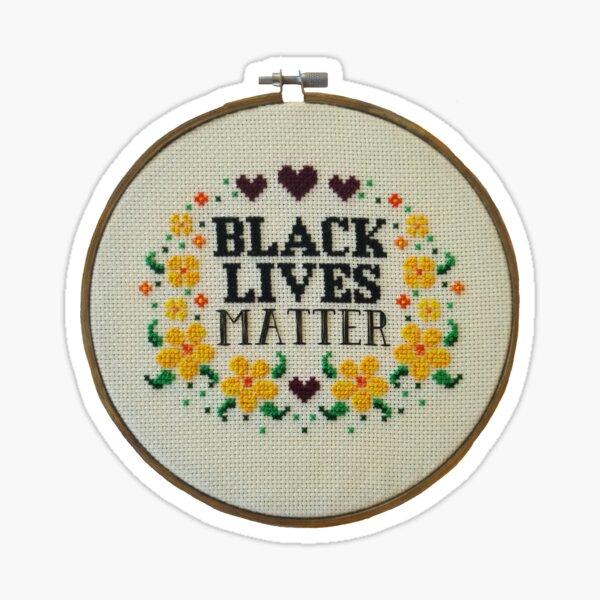 Black Lives Matter Cross Stitch Embroidery Hoop Art Sticker