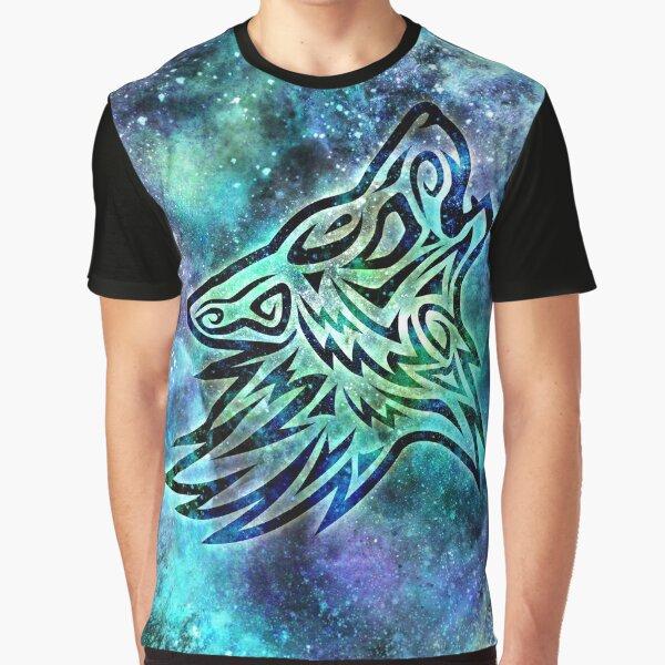 Galaxy Tribal Wolf Graphic T-Shirt
