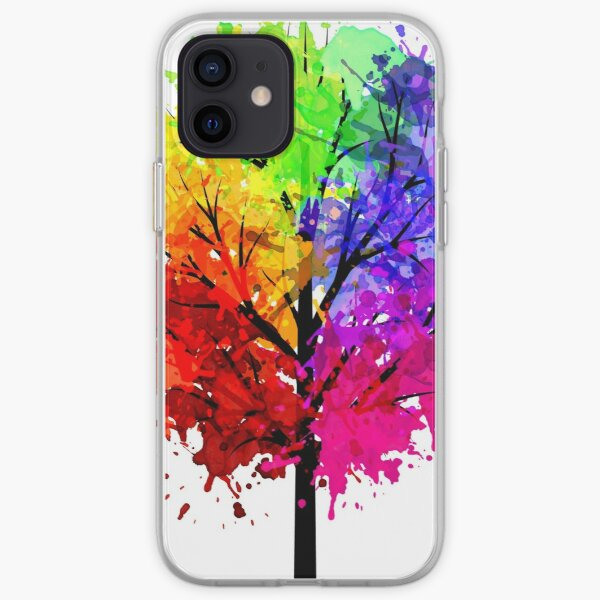 Rainbow Tree With Colour Splats iPhone Soft Case