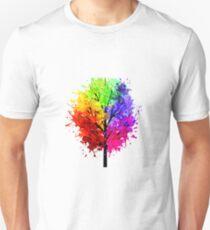 Rainbow Tree With Colour Splats Unisex T-Shirt