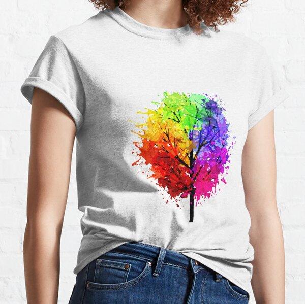 Rainbow Tree With Colour Splats Classic T-Shirt