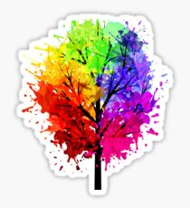 Rainbow Tree With Colour Splats Sticker