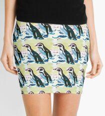 Painterly penguin repeat pattern  Mini Skirt