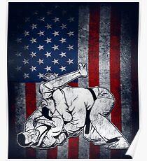 Jiu Jitsu USA Jiujitsu Shirt BJJ Tee Gift for Jiu-Jitsu Fan Poster