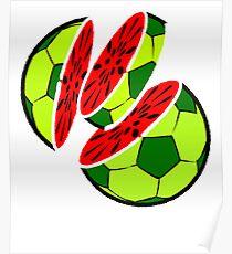 Funny Water-Melon Soccer Football Summer T-Shirt Poster
