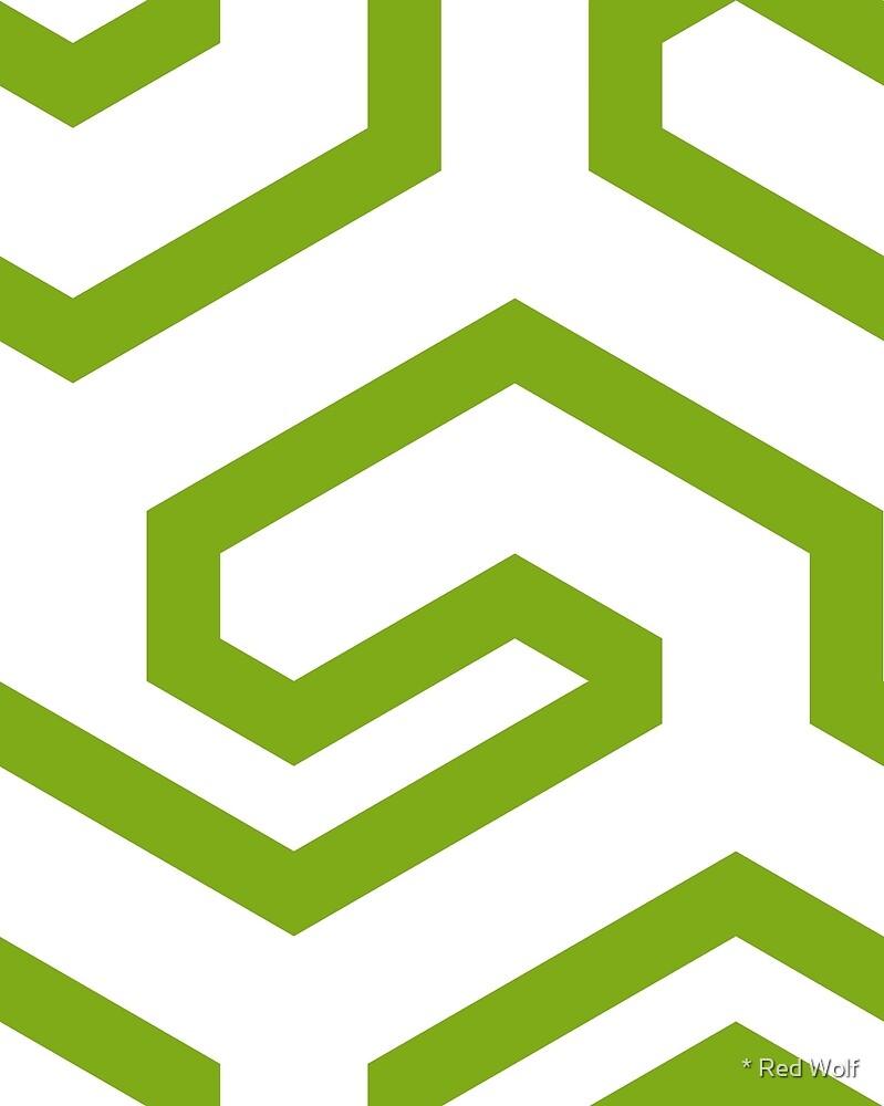 Geometric Pattern: Key Hook: Green by * Red Wolf