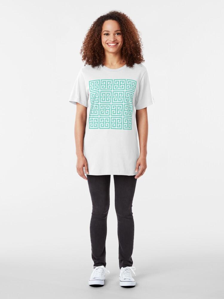 Alternate view of Geometric Pattern: Key Bridge: Blue Slim Fit T-Shirt