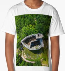 Aerial view from drone to the ruins of old medieval castle Spesbourg, Alsace, France Long T-Shirt