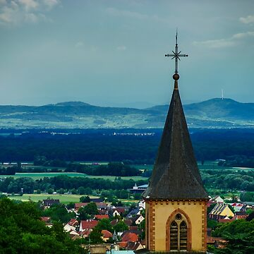 Church belltower on dark sky background before the storm, Alsace by sorokopud