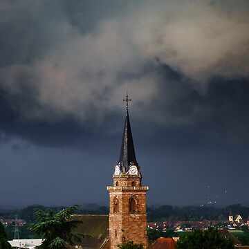 Dark sky and black clouds over the village Bergheim before the rain, Alsace, France by sorokopud