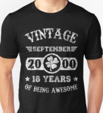 Birthday 2018 September 2000 18 Years Of Being Awesome Unisex T-Shirt