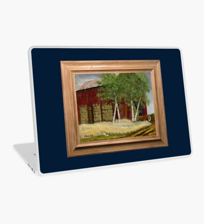 OLD MAN WALKER'S BARN, ACRYLIC PAINTING, DISPLAYED WITH SYNTHETIC FRAME Laptop Skin
