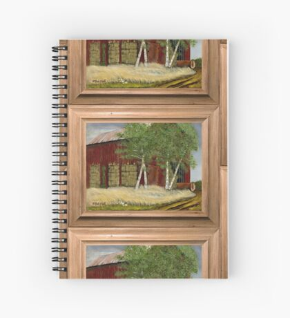 OLD MAN WALKER'S BARN, ACRYLIC PAINTING, DISPLAYED WITH SYNTHETIC FRAME Spiral Notebook