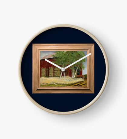 OLD MAN WALKER'S BARN, ACRYLIC PAINTING, DISPLAYED WITH SYNTHETIC FRAME Clock
