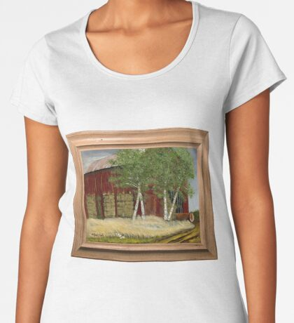 OLD MAN WALKER'S BARN, ACRYLIC PAINTING, DISPLAYED WITH SYNTHETIC FRAME Women's Premium T-Shirt