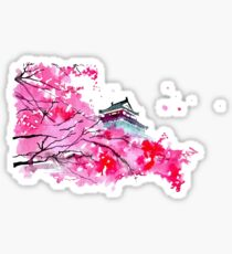 Japanese Temple and Plum Tree Pink Sticker