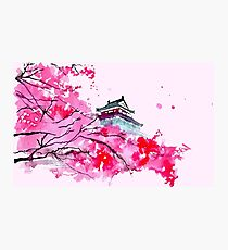 Japanese Temple and Plum Tree Pink Photographic Print