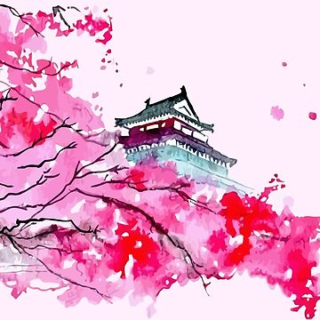 Japanese Temple and Plum Tree Pink by orinemaster