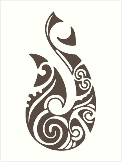 "Maori Fish Tattoo: ""Maori Hei Matau Fishhook Tattoo Gift Idea"" Art Print By"
