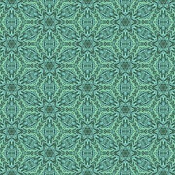 Green Ferns Geometric Shapes by karmcg