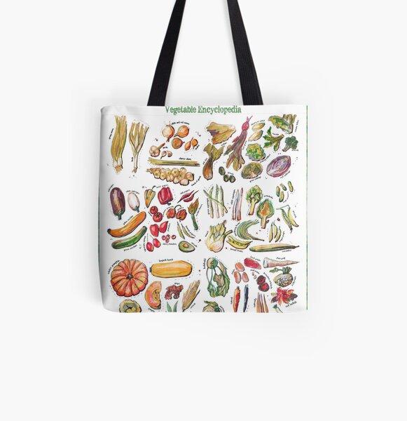 Vegetable Encyclopedia All Over Print Tote Bag