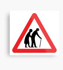 Caution Old People Crossing Sign Metal Print