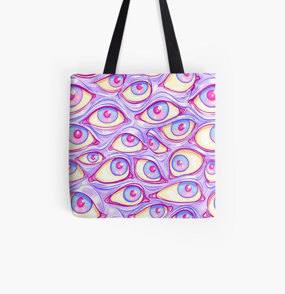 Wall of Eyes in Purple All Over Print Tote Bag