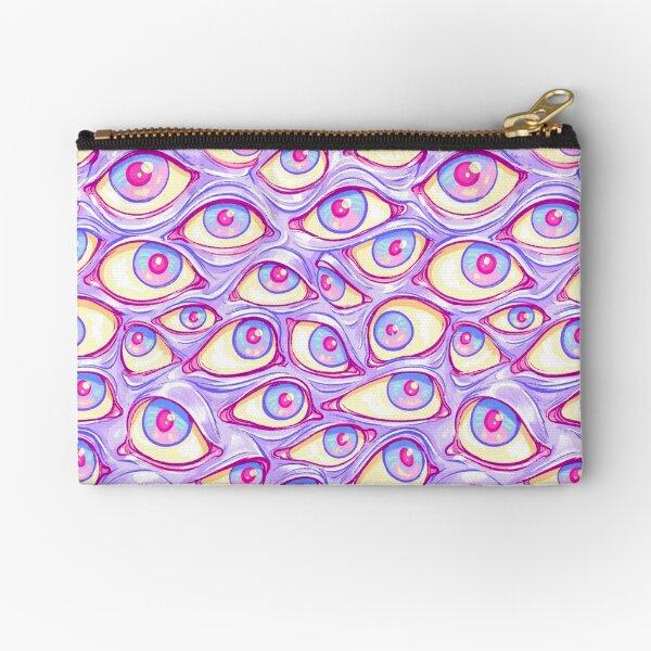 Wall of Eyes in Purple Zipper Pouch