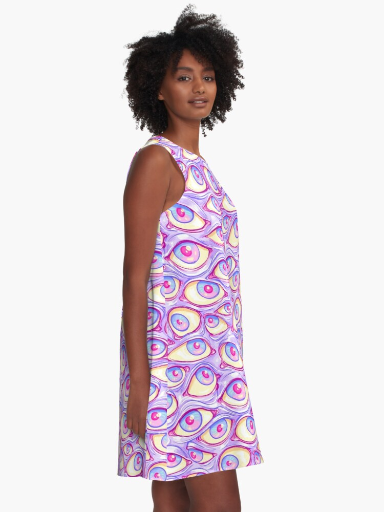 Alternate view of Wall of Eyes in Purple A-Line Dress