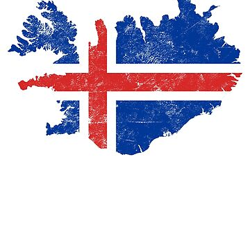 Iceland Flag Map tshirt distressed vintage by farhanhafeez