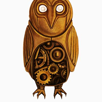 wooden owl clock by chknman