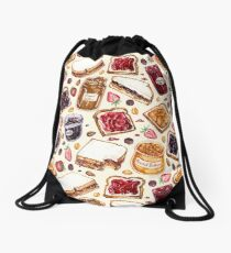 Peanut Butter and Jelly Watercolor Drawstring Bag