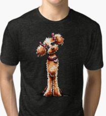 Girly Apricot Poodle Tri-blend T-Shirt