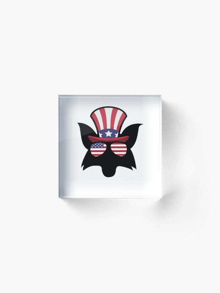 Vista alternativa de Bloque acrílico Fox Happy 4th Of July