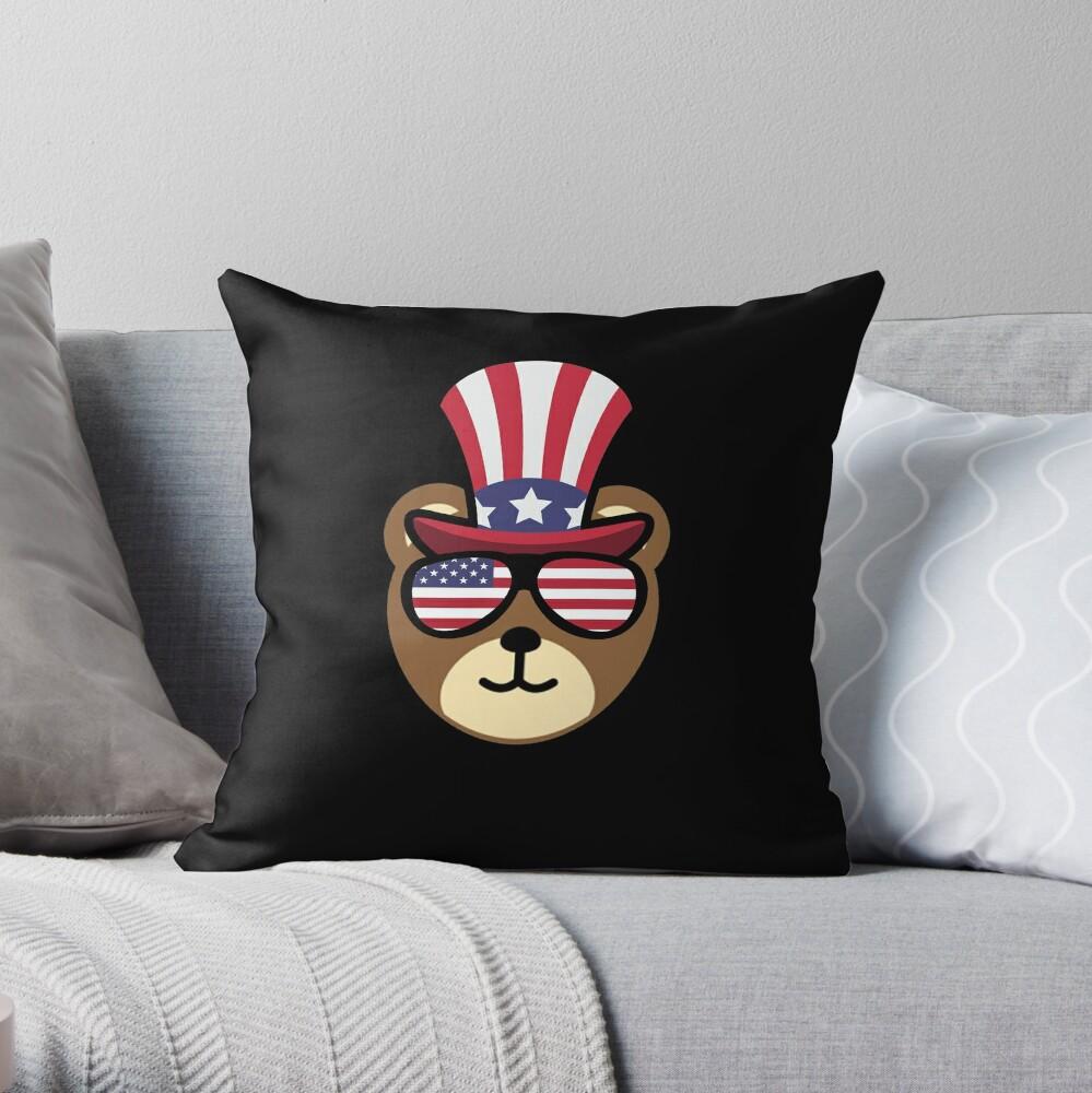 Bear Happy 4th Of July Cojín