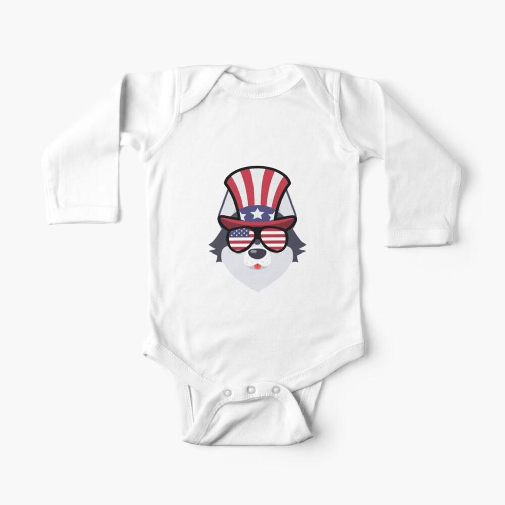 Husky Happy 4th Of July Body para bebé
