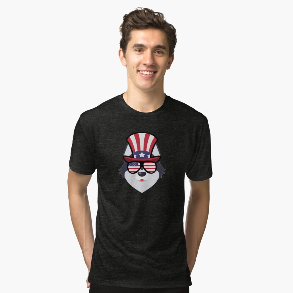 Husky Happy 4th Of July Camiseta de tejido mixto