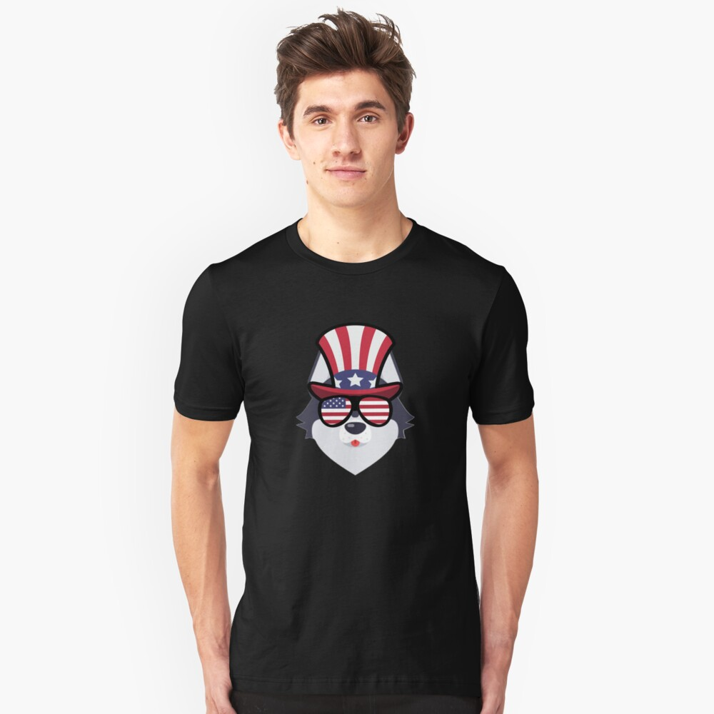 Husky Happy 4th Of July Camiseta ajustada