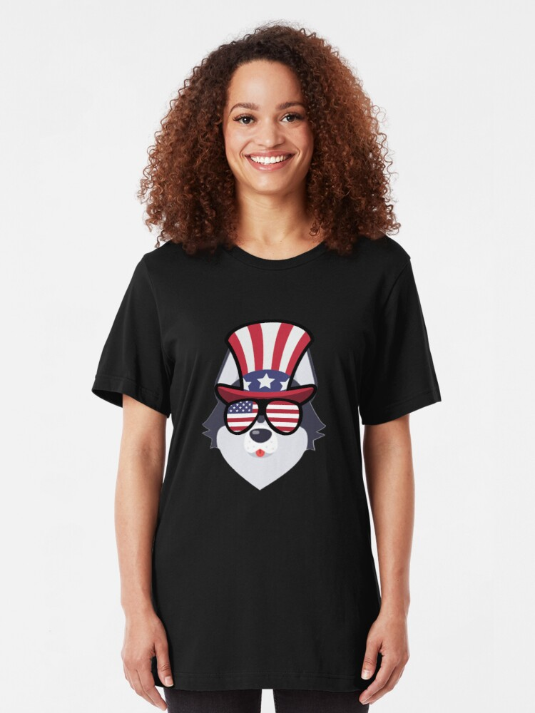 Vista alternativa de Camiseta ajustada Husky Happy 4th Of July