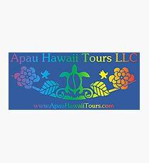 Apau Hawaii Tours - Sea Turtle & Gardenia Flower Logo Photographic Print